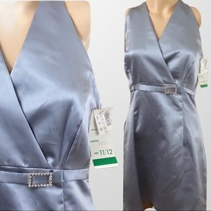 ALYN PAIGE silver v neck cocktail dress New 11-12